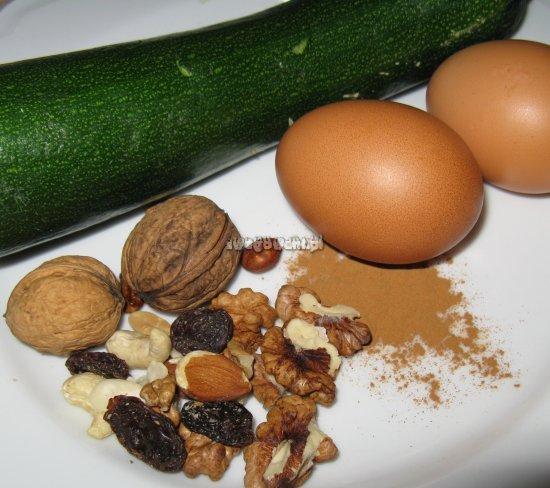 Babeczki orzechowe z cukinii - składniki