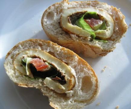 Kanapkowe ślimaczki - chleb ciabatta z naleśnikiem