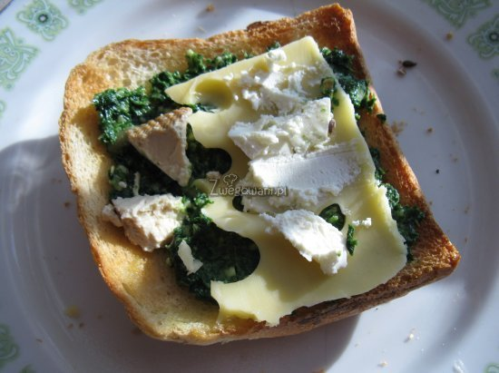 Tost z pesto ze szpinakiem, tofu i serem